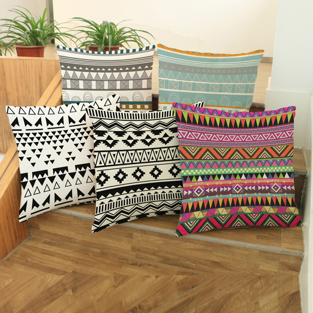 Bohemia Style Outdoor Cushion Pillows Thailand Cezch Ethnic Stylish Sofa Cushion Covers Cotton Linen Decorative Pillow Case
