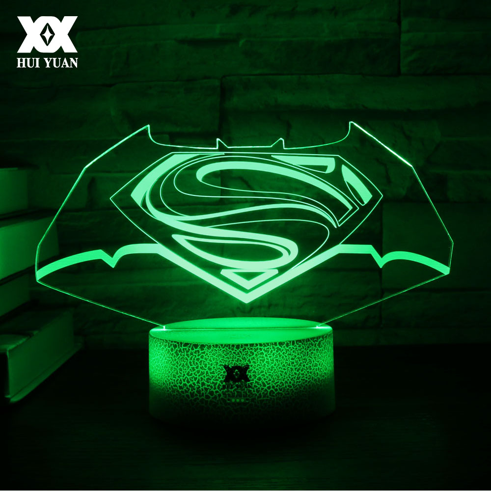 3D Batman LOGO Lamp LED 7 Color Novelty Cool Night Lights Touch The Decorative Table Lamp Creative Childs Christmas Gift