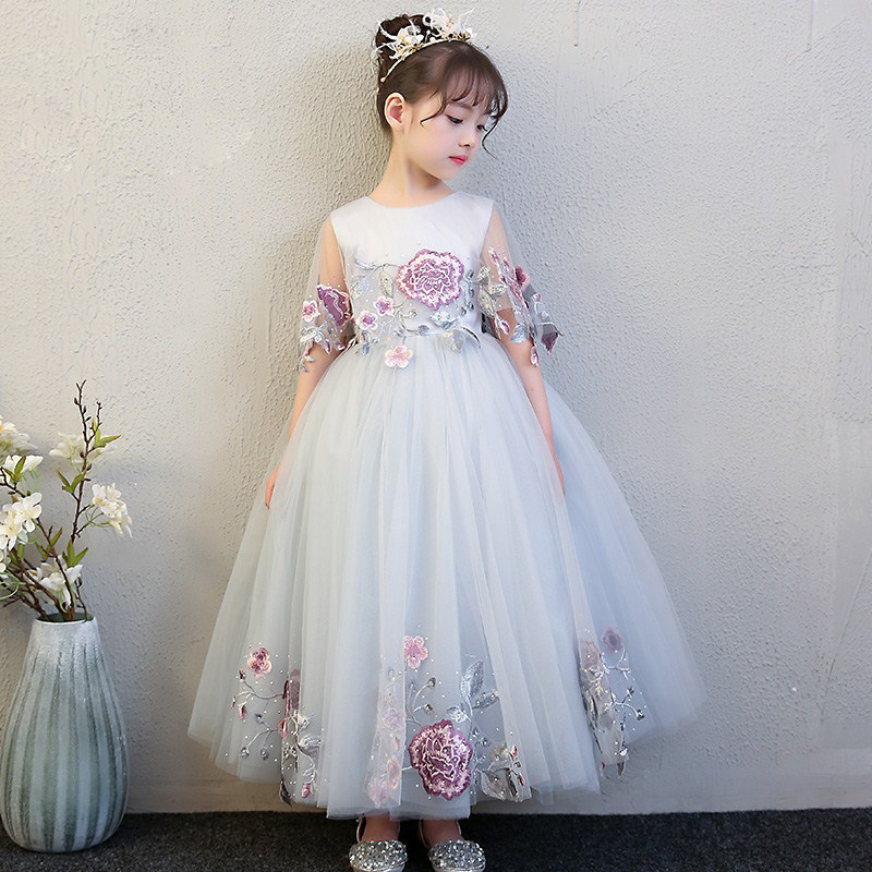 2018 New Children Girls Luxury Birthday Wedding Party Long Mesh Dress Kids Teens Flowers Evening Party Pageant Model Show Dress girls birthday wedding evening party embroidery flowers lace princess dress children kids model show costume pageant long dress