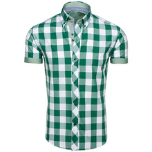 Zogaa 2019 New Mens Fashion  Smart Casual Cotton Short Sleeve Shirt Turn-down Collar Breathable Plaid Hot Sale S-2XL