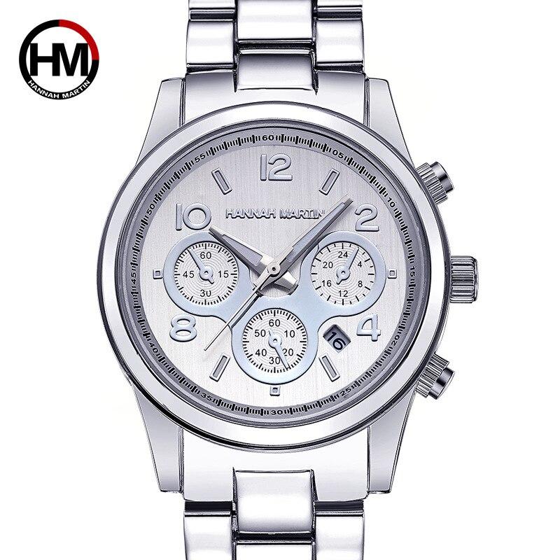 Rose Gold Top Brand Hannah Martin Women Classic Business Fashion Casual 3Bar Waterproof Watches Quartz Calendar Wristwatch 794