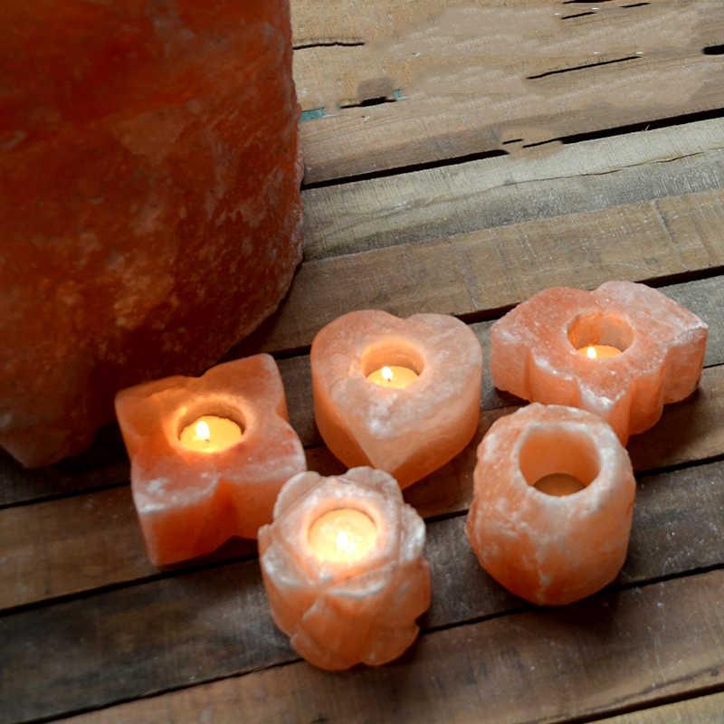 GIEMZA Nhỏ Bất Muối Đá Nến 1 pc Trụ Maple Lá Tim Bốn lá Cỏ Ba lá Tự Nhiên Của Nhãn Hiệu Muối Himalaya đèn
