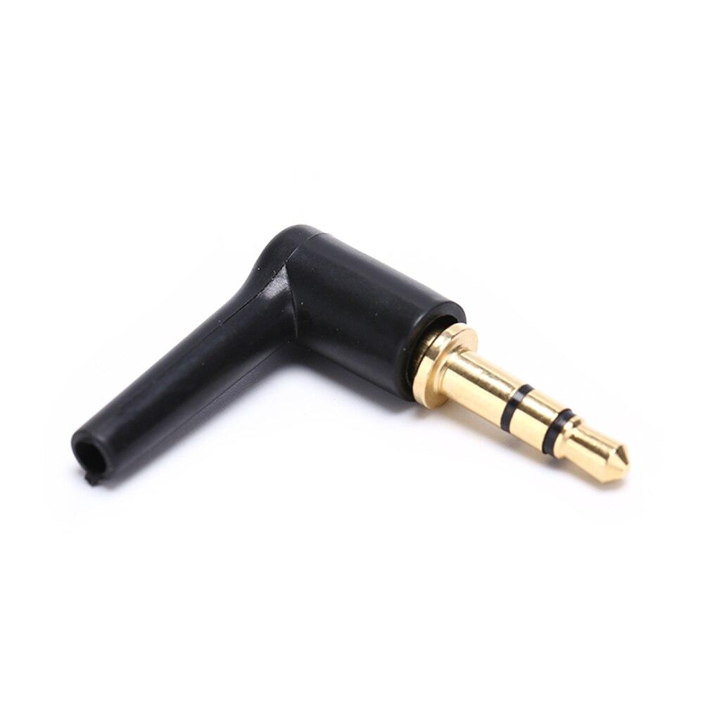2 шт./лот, 90 градусов, 3,5 мм, разъем для стереогарнитуры, 3, 4 полюса, 3,5, позолоченный, черный, аудио разъем, адаптер