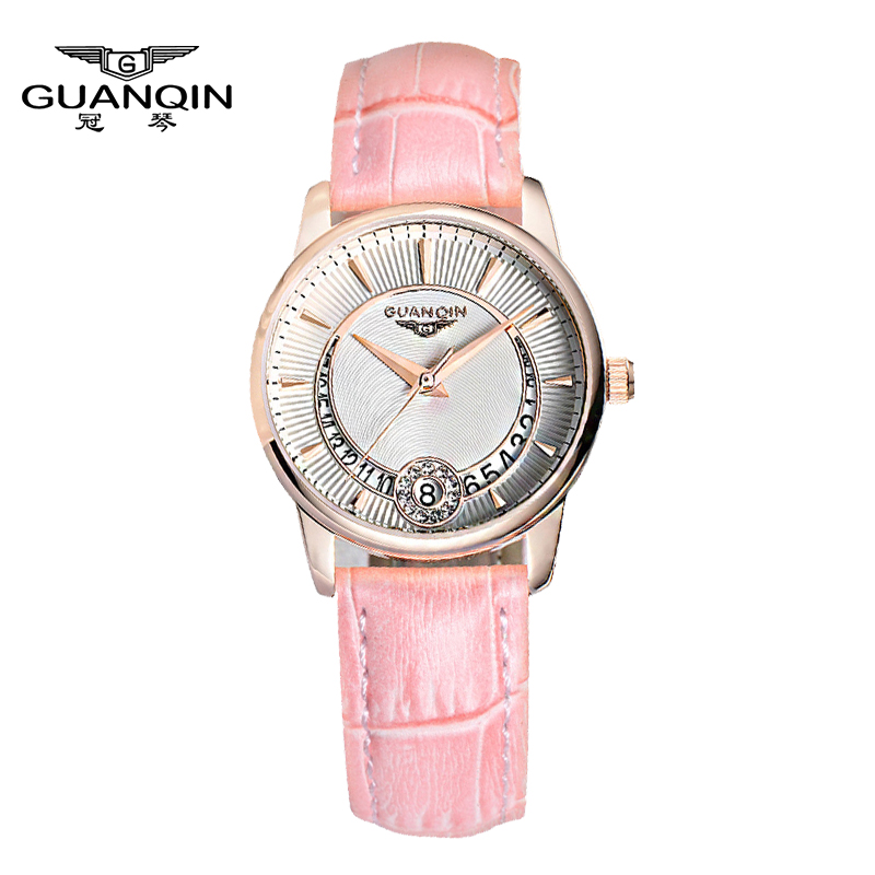 New Fashion Watches women Genuine Leather Strap Women Dress Watches Quartz Watch Waterproof Luxury GUANQIN Lady Casual Watches цена и фото