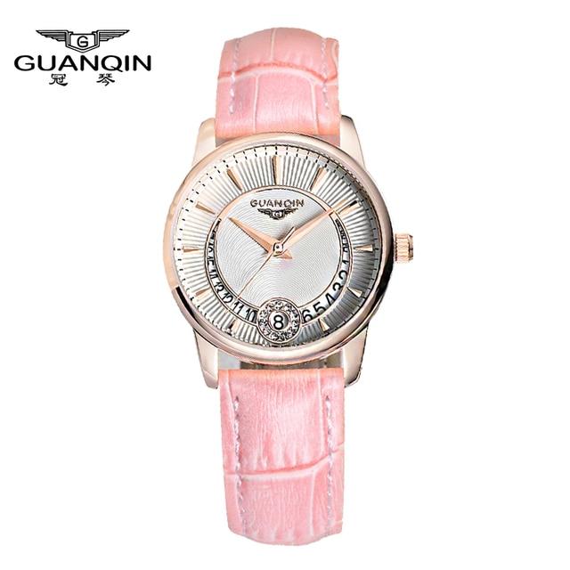 New Fashion Watches women Genuine Leather Strap Women Dress Watches Quartz Watch Waterproof Luxury GUANQIN Lady Casual Watches