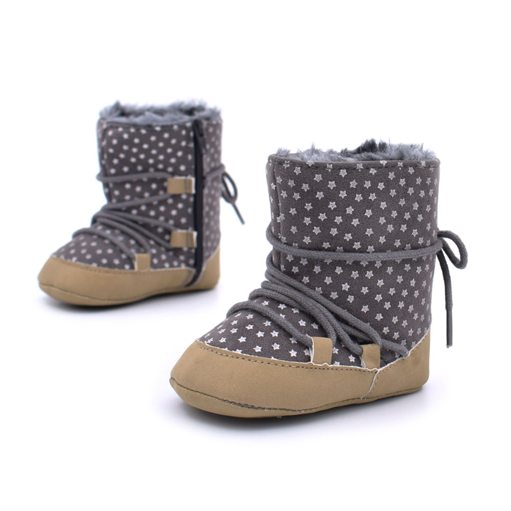 Super Warm Infant Soft Bottom Snow Boots Lace Up Baby Boys Girls Moccasins  Shoes Baby Prewalker Boots Camel/ Grey Available
