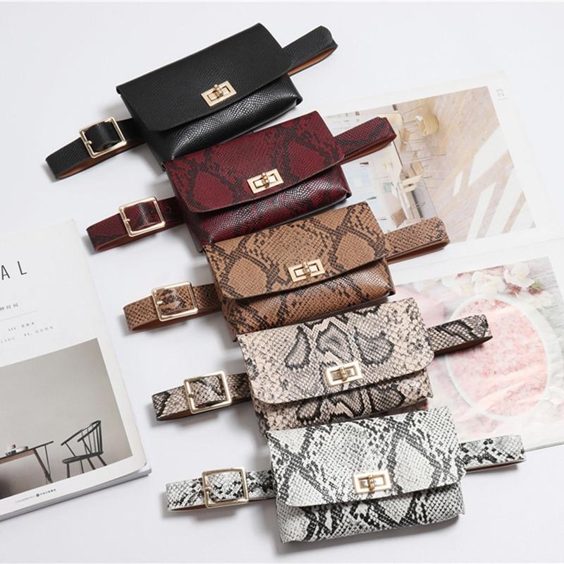 Waist Fanny Pack Belt Bag Pouch Travel Hip Bum Bag Women Small Snake Purse