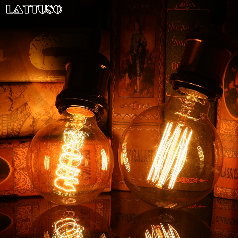 LATTUSO Vintage Edison Bulb E27 220V Retro Lamp 40W Pendant Light Bulb G80 G95 Incandescent Light Filament Edison Bulb