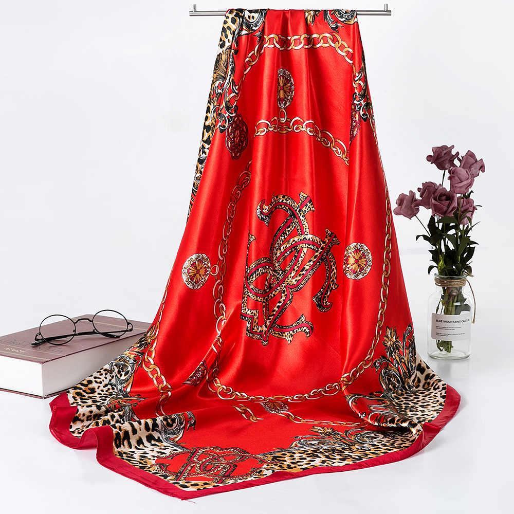 Fashion Selendang Syal untuk Wanita Cetak Sutra Satin Hijab Syal Wanita 90 Cm * 90 Cm Merek Mewah Square Syal syal Wanita 2019