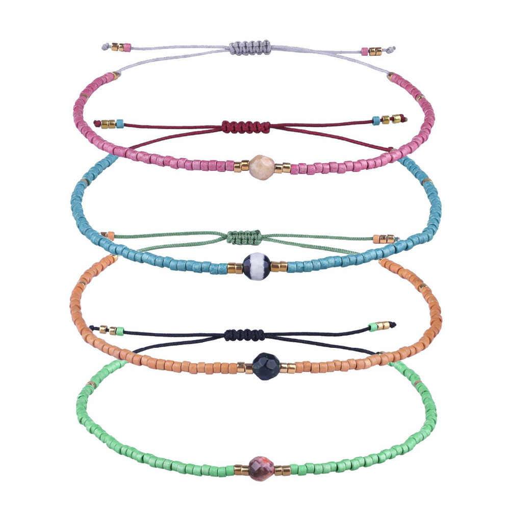 KELITCH tkana bransoletka przyjaźni dla kobiet String Sead zroszony wosk lina pleciona regulowana bransoletka ręcznie