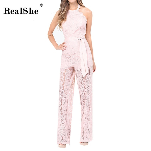 RealShe jumpsuits & rompers for women Vogue Brand Designer Round Neck Off Shoulder Slim Long Lace Jumpsuit Woman Sexy Clothing