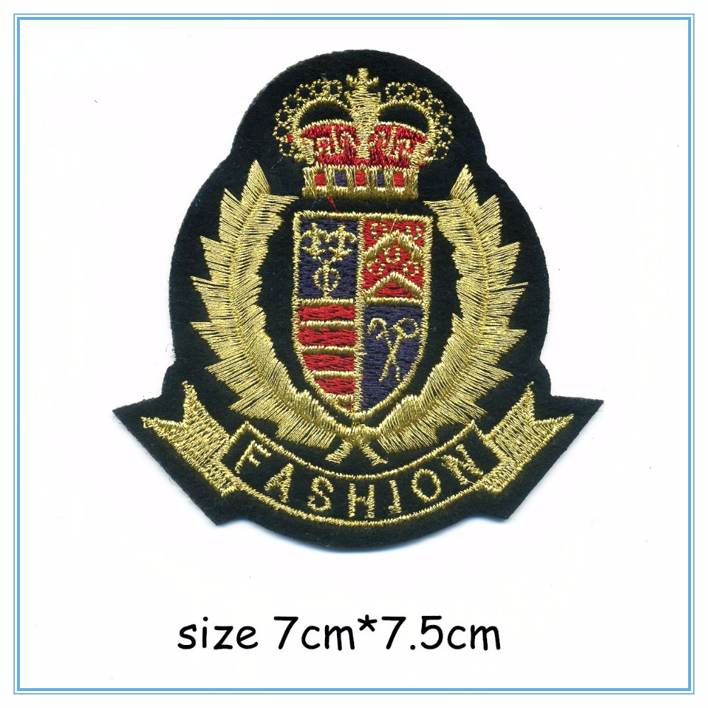 DOUBLEHEE 018 Fashion College Crown Gold Embroidery Patches Iron On Or Sew Fabric Sticker For Clothes Embroidered Appliques DIY