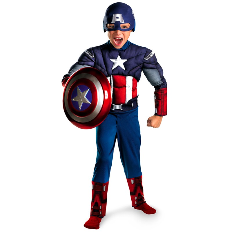Hot Sell Muscle Captain America Cosplay Costume For Boys Kids Superhero Role Play Halloween Party Costumes Super Hero Cosplay