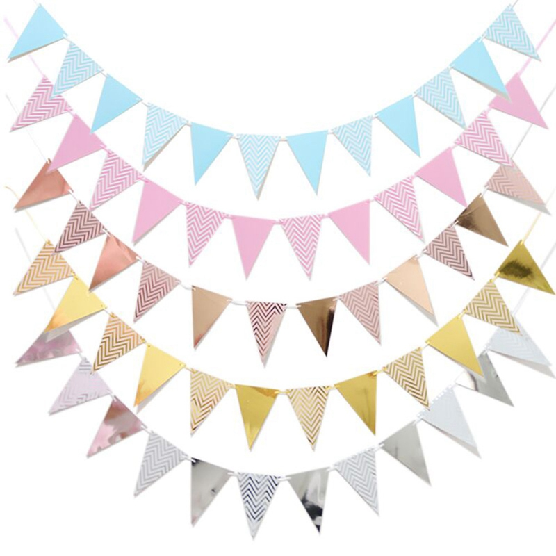Glitter Paper Birthday Party Hanging Bunting Banner Flag: Gold Silver Flag Banner Home Decor Banner Glitter Paper