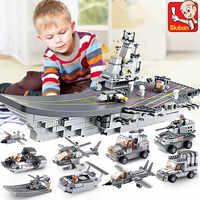 1001 pièces Air de mer et terre Corps militaire blocs de construction armée marine navire de guerre avion transporteur LegoINGLs briques jouets pour les enfants