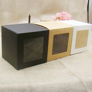 Image 3 - 10*10*10m 3color white/black/kraft stock paper box with clear pvc window .favors display /gifts&crafts paper window packing box