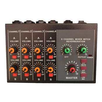 8 Channel Microphone Mono Stereo Audio Mixer Home Karaoke Sound Mixing Amplifier
