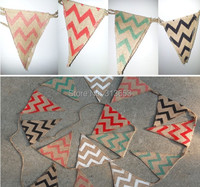 New Arrival Chevron Eco Friendly Hessian Burlap Hunting Banner Flags For Wedding Birthday Baby Shower Party