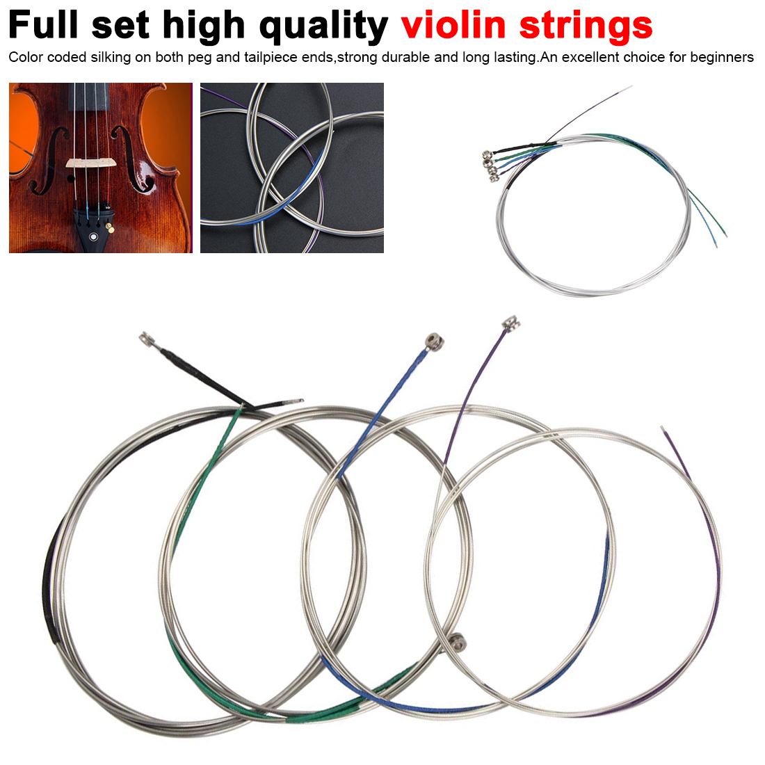 For Violin Full Set High Quality Violin Strings Size 4/4 & 3/4 Violin Strings Steel Strings G D A and E Instrument Accessories