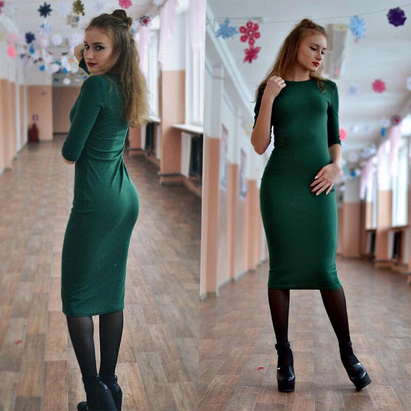 HTB19MUuPXXXXXbRaXXXq6xXFXXXi - Colrovie работы Летний стиль Для женщин Bodycon Платья для женщин пикантные Новое поступление 2017 года Повседневное Green Crew Средства ухода за кожей шеи половина платье миди с рукавами