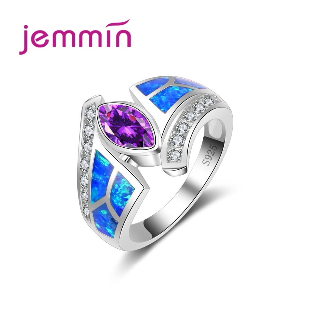 Hot Exaggerate Type Particular Mystic Blue Fire Opal Ring With Purple CZ Crystal Women Ring 925 Sterling Silver Bijoux