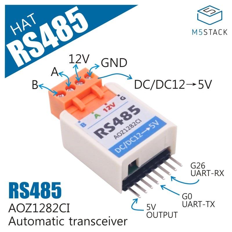 M5StickC ESP32Mini IoT Development Board Compatible RS485 HAT AOZ1282CI TTL To RS485 Converter Module SP485EEN For Auduino