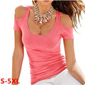 Fora os Topos de Ombro Para As Mulheres Camiseta Verão 2016 Sexy T-shirt Femme Tops Ladies Plus Size Vestuário Camisetas Mujer XXXXXL