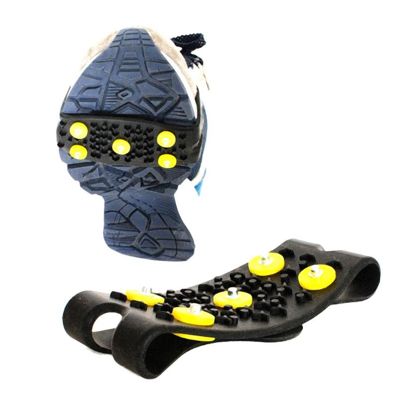 1Pair Walking Cleat Anti Slip Snow Ice Camping Climbing Mountaineer Spikes Grips Crampon Cleats 5 Stud Ice Snow Shoes Cover