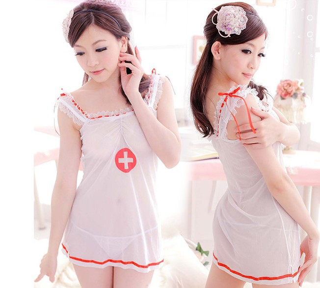 Lingerie Transparent Soft Yarn Sexy Nurse Cosplay Costume Nurse Babydoll High Quality -MX8