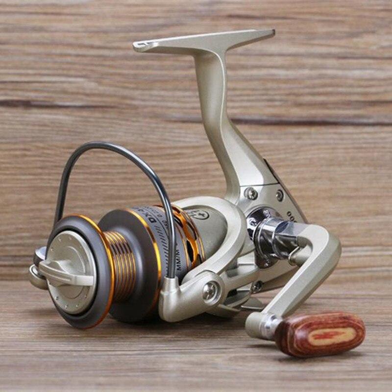 2017 Nuevo Pesca bobina madera apretón 12 + 1bb spinning Pesca carrete profesional metal izquierda/mano derecha Pesca carrete ruedas