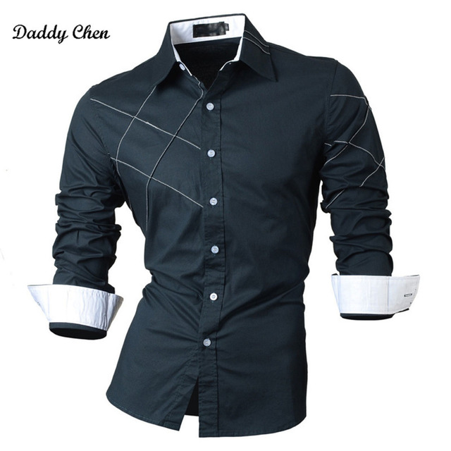 2018 casual mens shirts dress male long sleeve slim fit brand clothing cotton western button white black M-2XL (Asia Size)