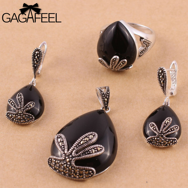 Hot sell Fashion Black Agate Women Wedding Jewelry Sets 925 sterling Thai Silver Vintage Earrings Rings Necklaces Pendants 637T3