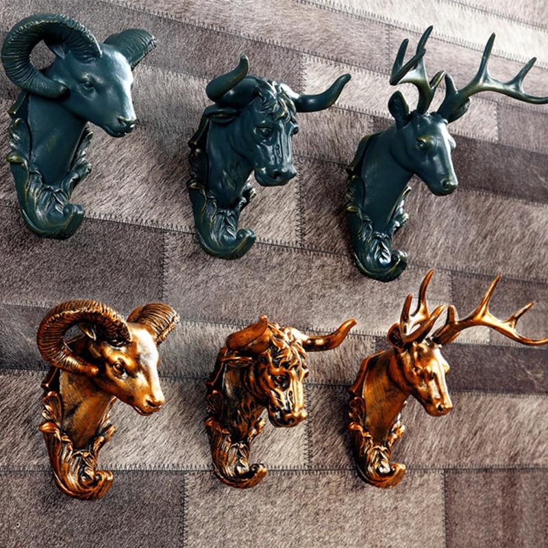 Creative Resin Wall Hook Animals Decor Rack Gold Deer Head
