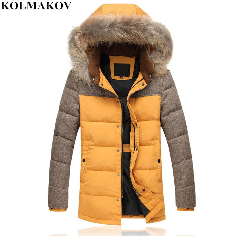 NEW mens   down     coats   with hat Slim 2018 winter men's Casual fur hooded   coats   male Good warm duck   down   jackets men Plus size M-4XL