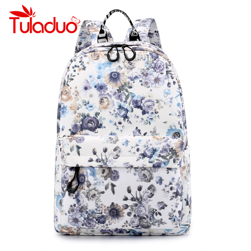 Tuladuo Flower Printing Backpacks Women School Bags for Teenage Girls Canvas Backpack Fresh Style Mochila Female Travel Backpack