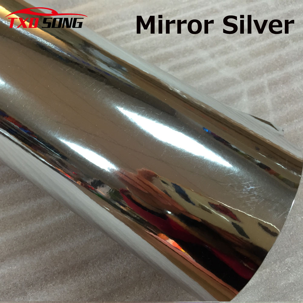 High quality stretchable Silver chrome mirror vinyl film Chrome silver vinyl car sticker by free shipping цена