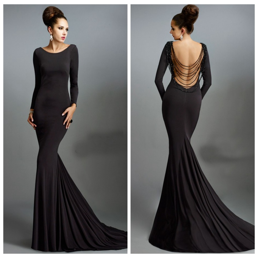 vestidos de festa Scoop Long Sleeve Beading Backless Black Evening ...