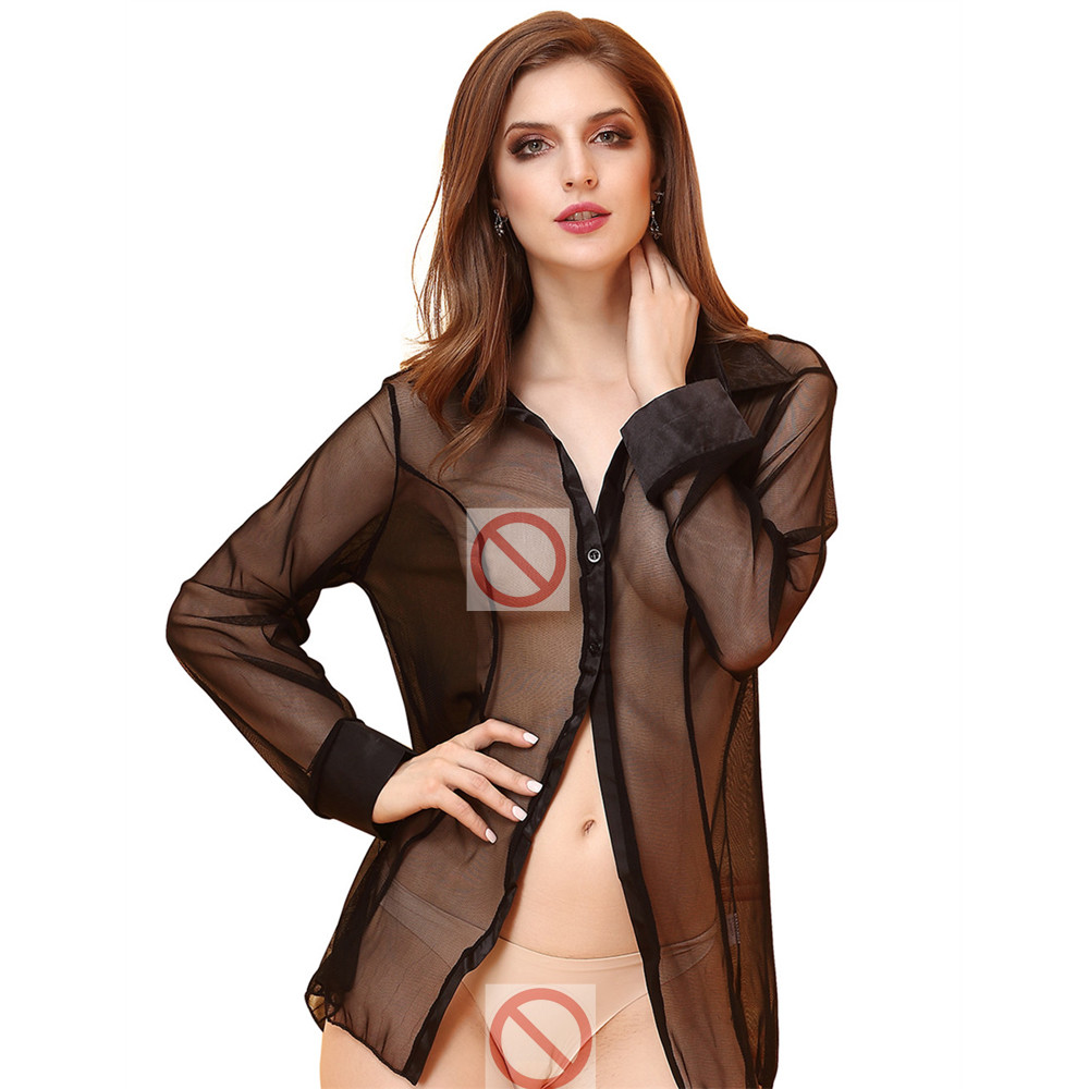 Weiweihu 2018 New Woman Sexy Babydolls See-Through Sexy Lingerie Girls Long Sleeve Erotic Blouse Sexy Nightwear