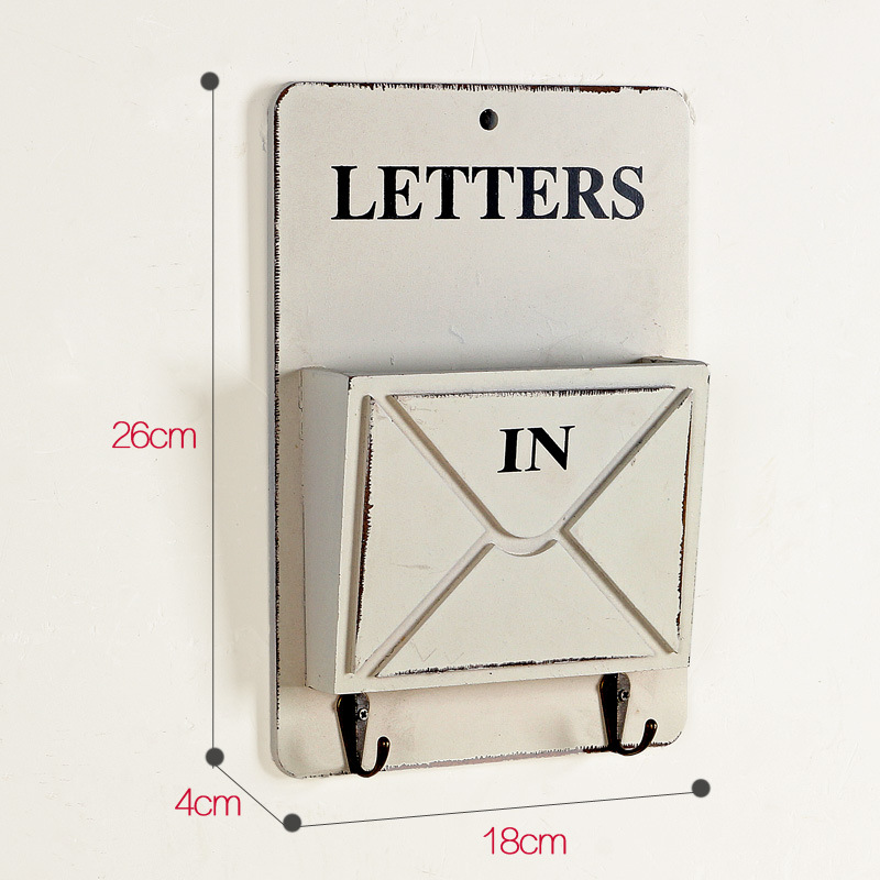 Vintage brief houten kist muur opknoping opslag haak Hanger Retro - Home opslag en organisatie - Foto 3