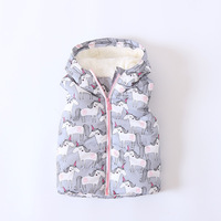 Autumn Winter Baby Girls Vest Unicorn And Rainbow Waistcoats Kids Cartoon Sleeve Jacket Girls Warm Vest