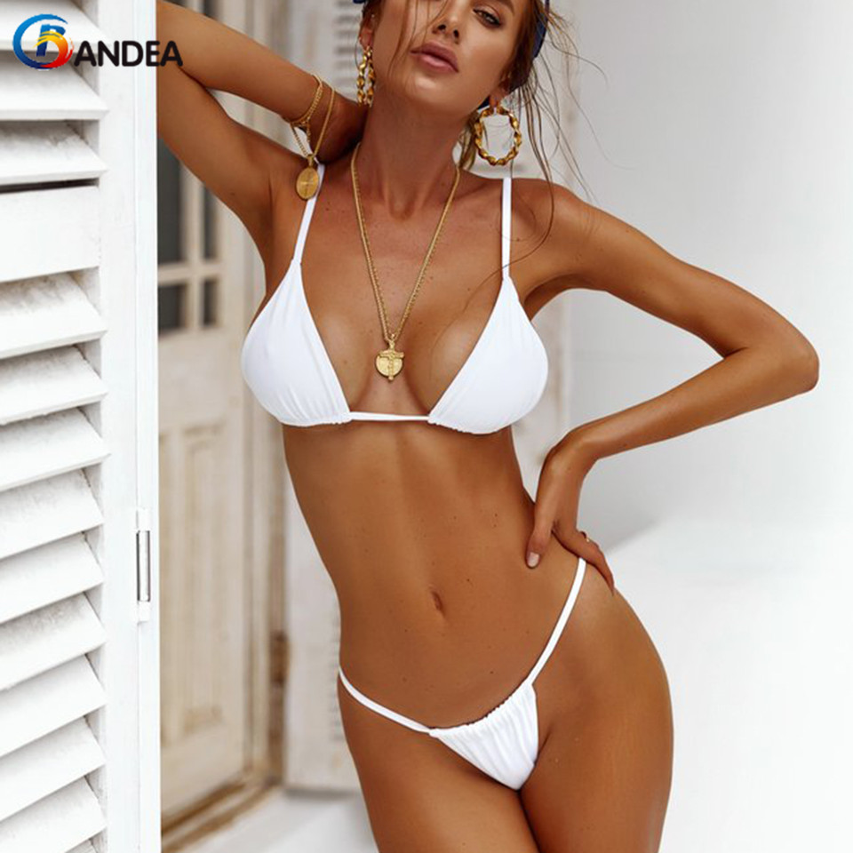 BANDEA Bikini Women Swimsuit 2019 Sexy Thong Bikini Set Solid Black White Swimwear Summer Push Up Micro Biquini Beach Wear Купальник
