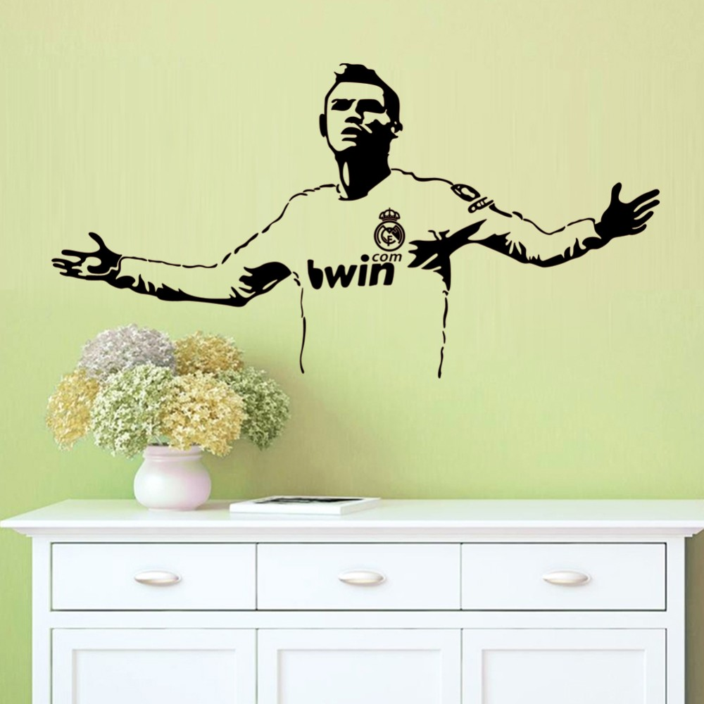 personalized football cristiano ronaldo wall stickers wall decals ...