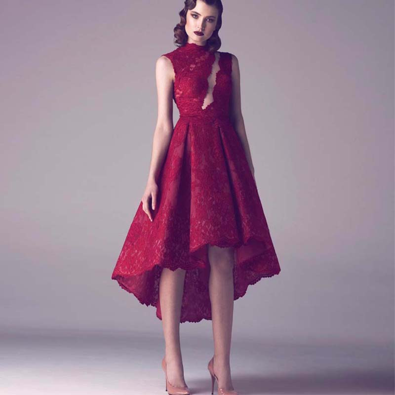 Gothic Red Lace Abiye Elbise Evening Dress High Low Draped Arabic ...