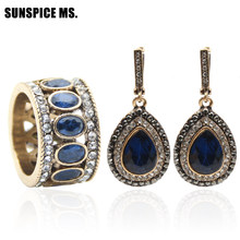 Off Price Turkish Women Vintage Jewelry Sets Antique Gold Color Resin Round Ring Indian Bridal Wedding Long Hook Dangle Earrings(China)