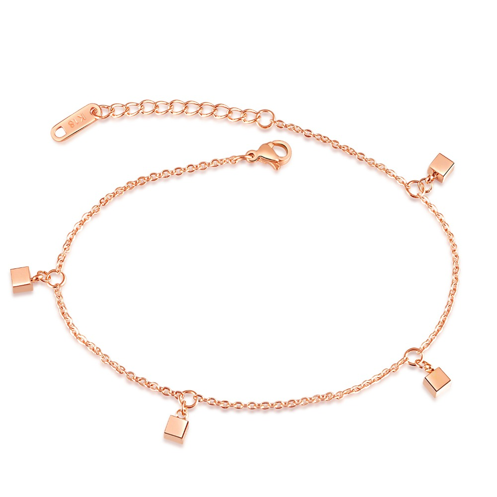 Jewelry Sets & More Fate Love Stylish Love Cube Link Anklets For Women Rose Gold Color Stainless Steel Ladies Female Foot Chain Jewelry Never Fade