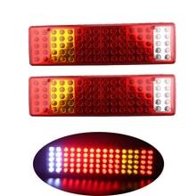 1 Pair Car LED Rear Tail Lights Stop Brake Taillight Reverse Indiactor Light for ATV Truck Trailer 24V Automobiles