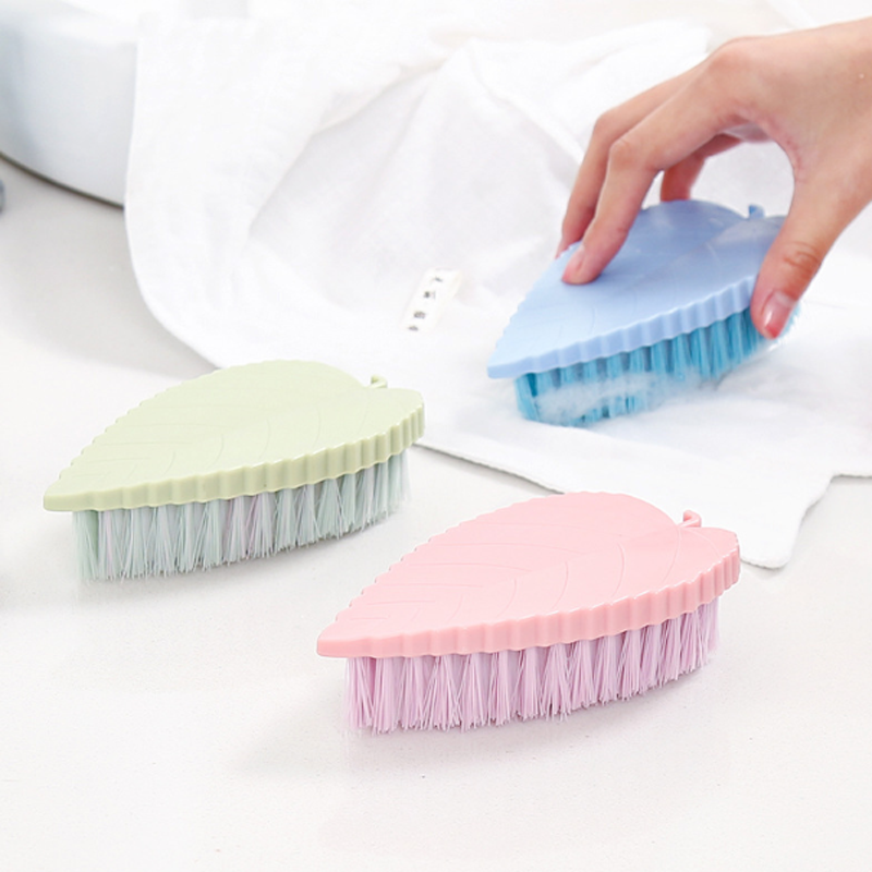 1 pcs Practical Plastic Brush Tool Housework Hand-Held Washing cleaning small brushes Soft Brush Leaf shape Clean Washing Tool