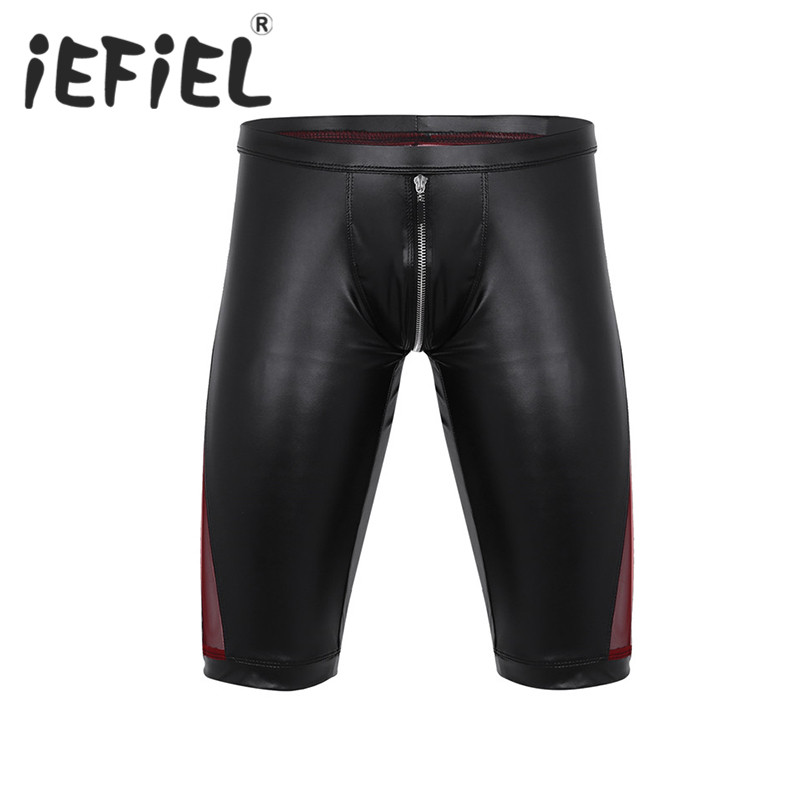 iEFiEL Fashion Sexy Mens Summer Faux Leather Zipper Crotch Mesh Splice Low Rise Slim Fit Tight Boxer Nightclub Clubwear Shorts