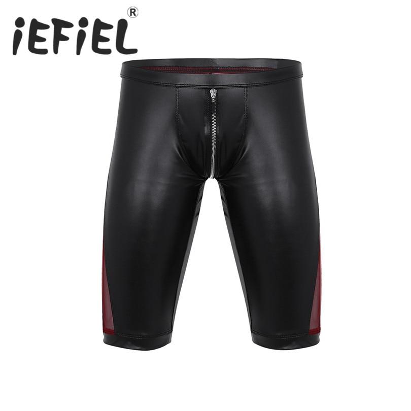iEFiEL Fashion Sexy Mens Summer Faux Leather Zipper Crotch Mesh Splice Low Rise Slim Fit Tight Boxer Nightclub Clubwear Shorts