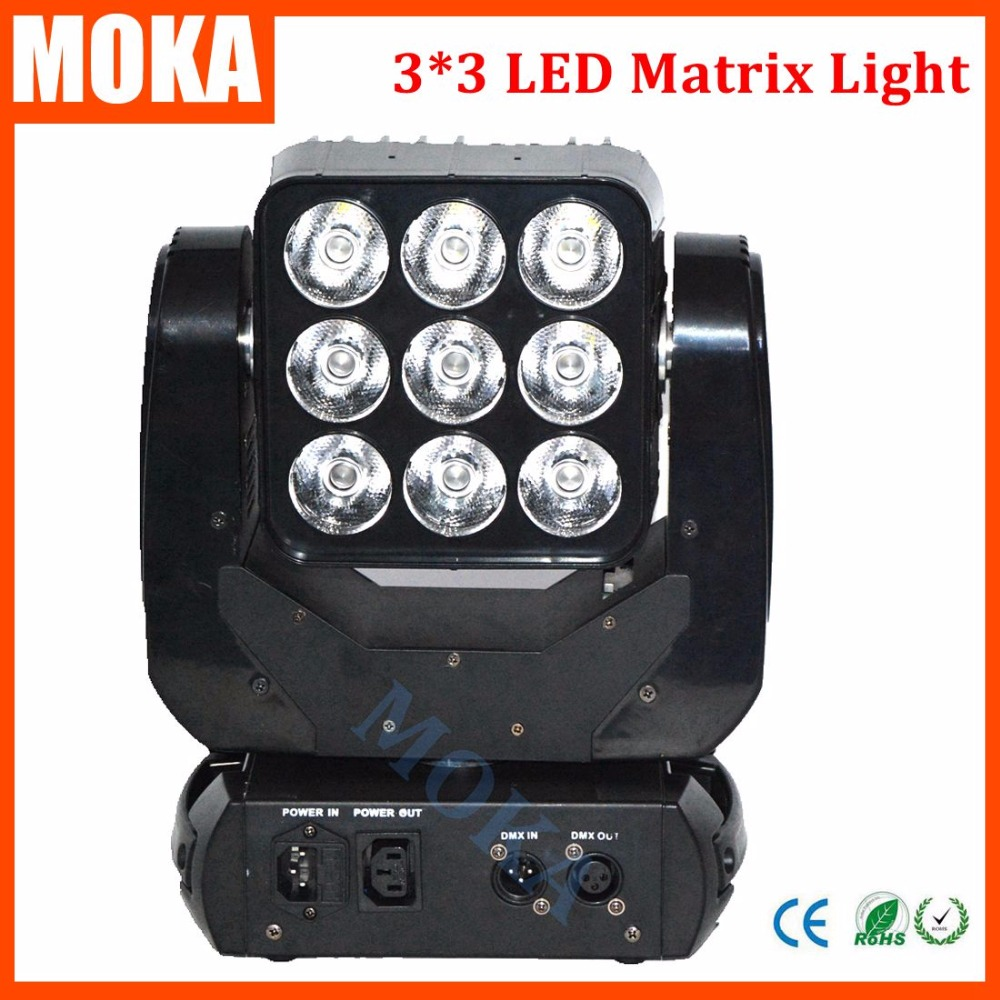 New Professional 9pcs 10W Led Lamp Moving Head Matrix Light for Stage Party KTV Disco DJ